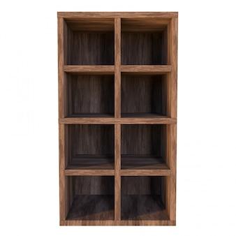 Caixa de madeira velha com prateleiras, compartimentos ou gaveta, vazia