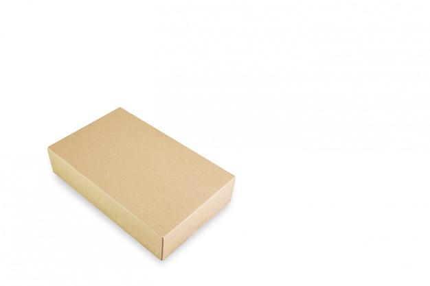 Caixa de papel isolada, produtos de entrega embalagem conceito de reciclagem, vista em perspectiva.
