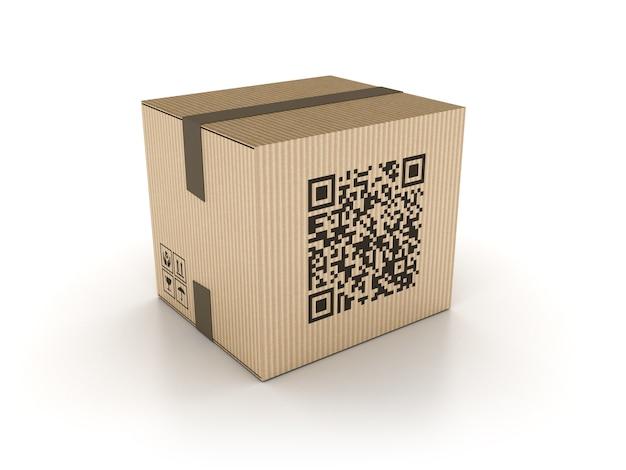 Caixa de papelão 3d com código qr