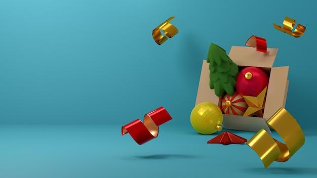 Caixa de papelão aberta com bolas de natal, estrelas e confetes caindo sobre um fundo azul claro. ilustração 3d. render. modelo de cartão de felicitações, banner, para o ano novo e o natal