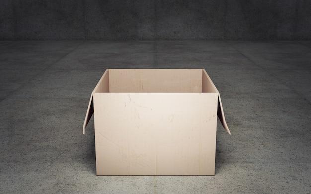 Caixa de papelão aberta em fundo escuro