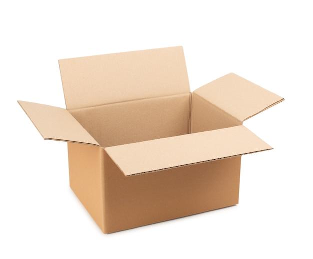 Caixa de papelão aberta para armazenamento de mercadorias e pacotes pelo correio