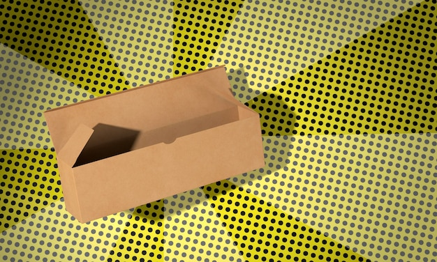 Caixa de papelão aberta simples com fundo de quadrinhos