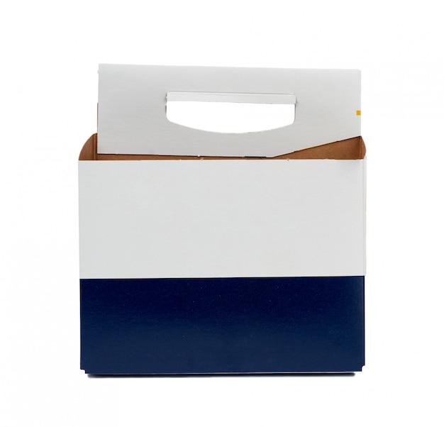 Caixa de papelão azul e branco com alça para transportar garrafas de cerveja de vidro e outras bebidas