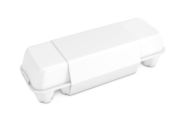 Caixa de papelão clara de ovo com etiqueta em branco com espaço livre para seu projeto em um fundo branco. renderização 3d