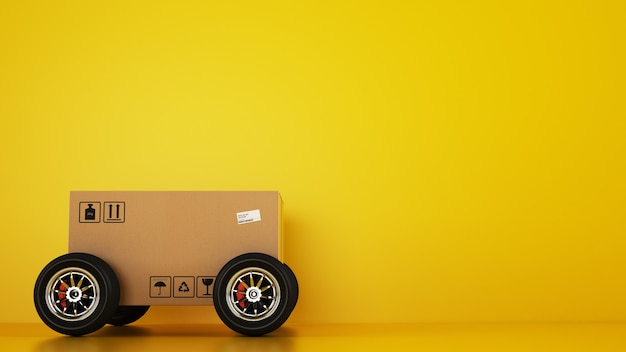 Caixa de papelão com rodas de corrida como um carro em um fundo amarelo. envio rápido por estrada