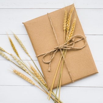 Caixa de papelão com trigo