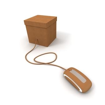 Caixa de papelão conectada a um mouse com a mesma textura