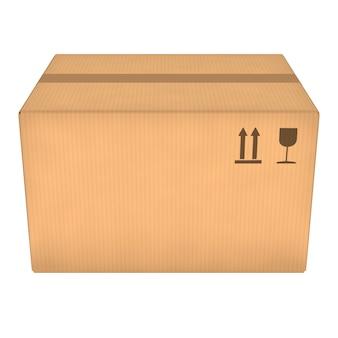 Caixa de papelão fechada isolada no fundo branco. conceito de varejo, logística, entrega e armazenamento. vista lateral com perspectiva.
