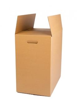 Caixa de papelão marrom isolada
