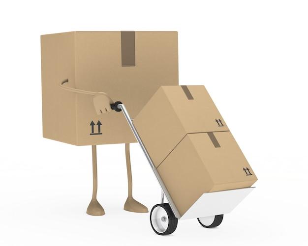 Caixa de papelão usando um carrinho