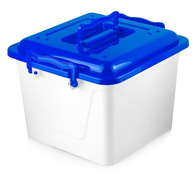 Caixa de plástico branca com tampa vermelha