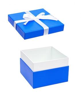 Caixa de presente aberta azul com laço branco