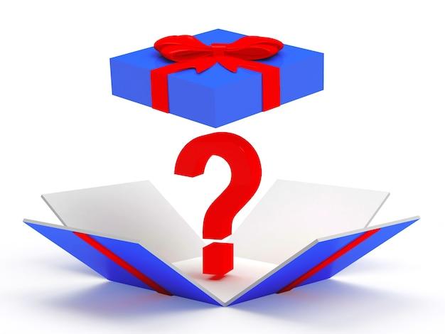 Caixa de presente aberta azul com ponto de interrogação vermelho