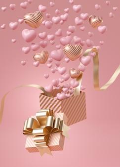 Caixa de presente aberta com listras rosa e ouro