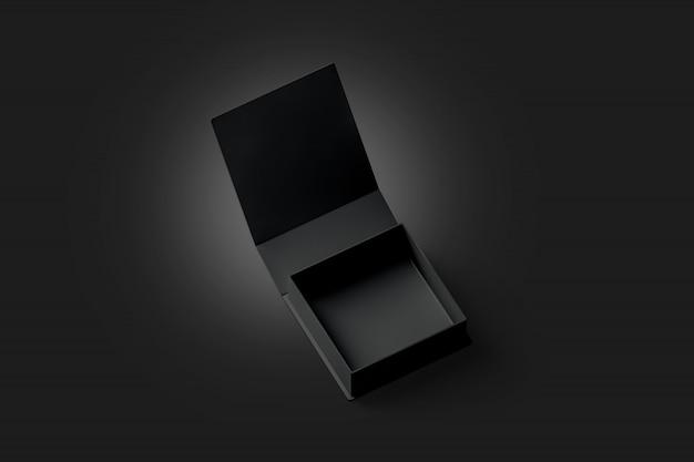 Caixa de presente aberta preta em branco, isolada na escuridão