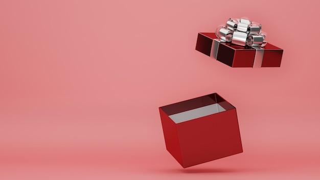 Caixa de presente aberta surpresa em fundo vermelho e rosa com banner de ano novo de cartaz de dia dos namorados com espaço de cópia