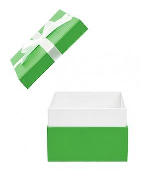 Caixa de presente aberta verde com laço branco