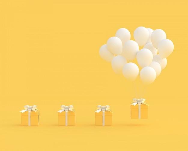 Caixa de presente amarela com balões no estilo minimalista de fundo amarelo