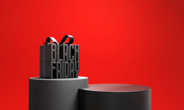 Caixa de presente black friday com pódio.