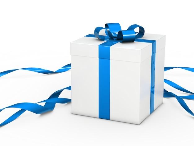 Caixa de presente branca com a fita azul