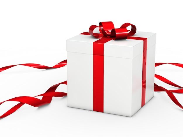 Caixa de presente branca com a fita vermelha