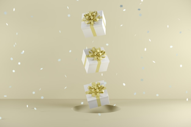Caixa de presente branca com amarelo pastel cor da fita flutuando sobre fundo amarelo pastel