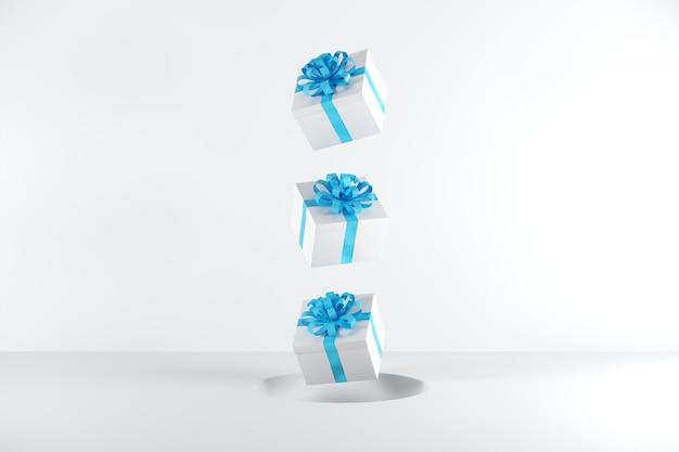 Caixa de presente branca com fita azul cor flutuando no fundo branco