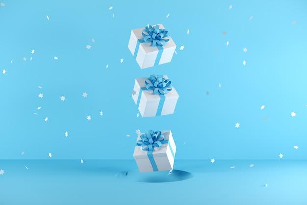 Caixa de presente branca com fita azul cor flutuando sobre fundo azul