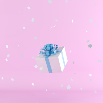 Caixa de presente branca com fita azul em fundo rosa
