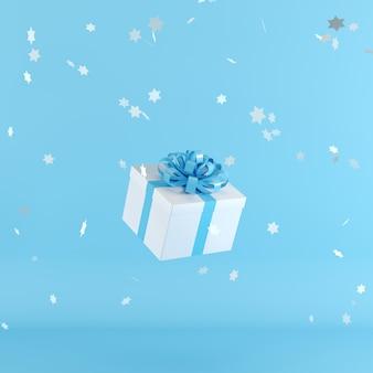 Caixa de presente branca com fita azul sobre fundo azul