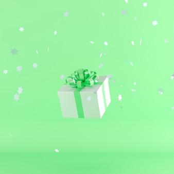 Caixa de presente branca com fita de cor verde sobre fundo de cor verde