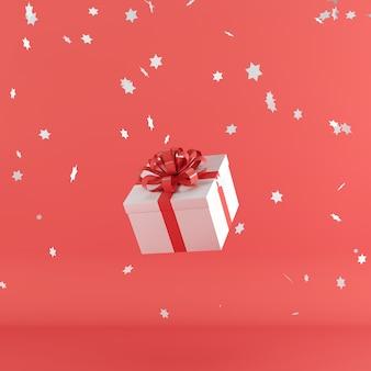 Caixa de presente branca com fita de cor vermelha em fundo de cor vermelha