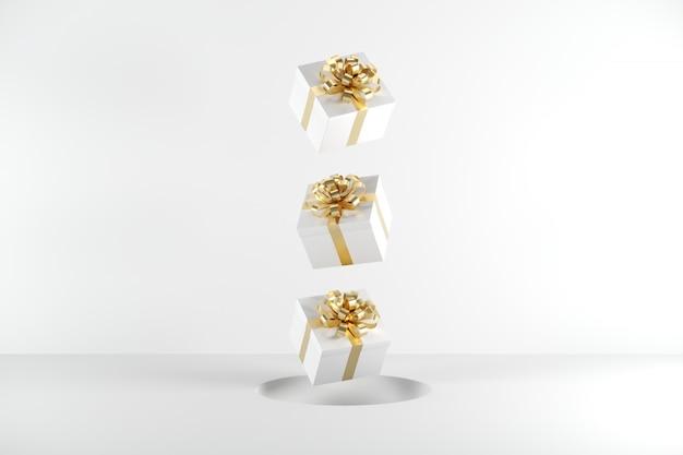 Caixa de presente branca com fita dourada cor flutuando no fundo branco