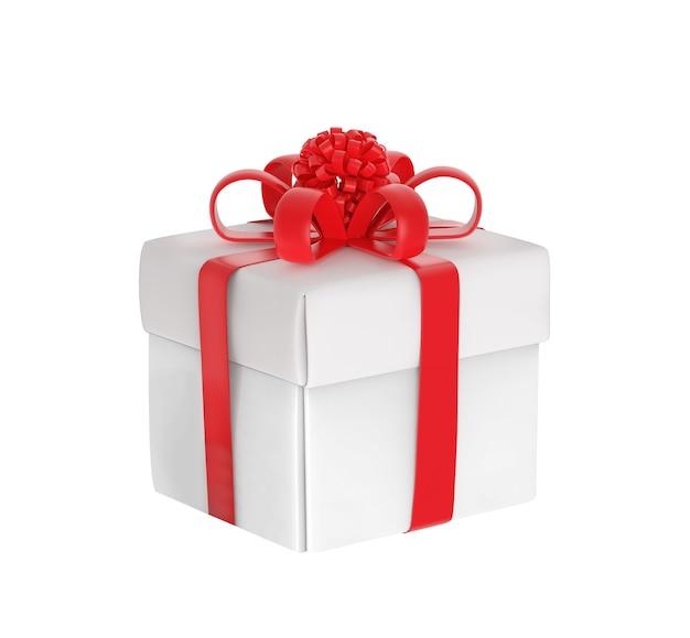 Caixa de presente branca com fita vermelha isolada