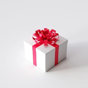 Caixa de presente branca com fita vermelha na cor branca. ideia de natal. renderização em 3d.