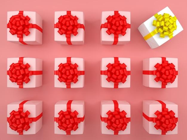 Caixa de presente branca e fita vermelha. conceito pastel 3d