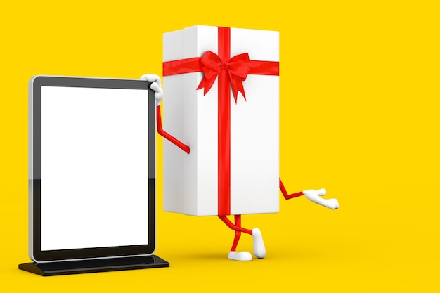Caixa de presente branca e mascote de personagem de fita vermelha com carrinho de exibição de tela lcd de feira comercial em branco como modelo para seu projeto em um fundo amarelo. renderização 3d