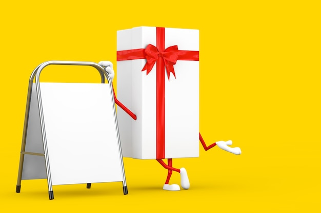 Caixa de presente branca e mascote de personagem de fita vermelha com carrinho de promoção de publicidade em branco branco sobre um fundo amarelo. renderização 3d