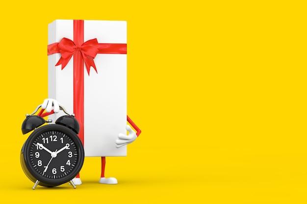 Caixa de presente branca e mascote de personagem de fita vermelha com despertador em um fundo amarelo. renderização 3d