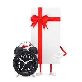 Caixa de presente branca e mascote de personagem de fita vermelha com despertador em um fundo branco. renderização 3d