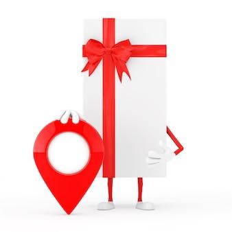 Caixa de presente branca e mascote de personagem de fita vermelha com pino de destino de ponteiro de mapa vermelho em um fundo branco. renderização 3d