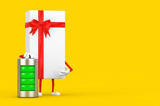 Caixa de presente branca e mascote do personagem da fita vermelha com bateria de carregamento abstrata em um fundo amarelo. renderização 3d