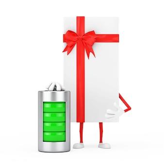 Caixa de presente branca e mascote do personagem da fita vermelha com bateria de carregamento abstrata em um fundo branco. renderização 3d
