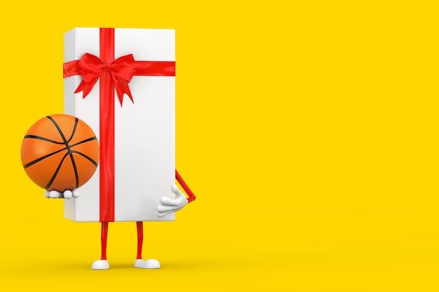 Caixa de presente branca e mascote do personagem de fita vermelha com bola de basquete em um fundo amarelo. renderização 3d