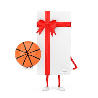 Caixa de presente branca e mascote do personagem de fita vermelha com bola de basquete em um fundo branco. renderização 3d
