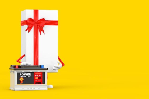 Caixa de presente branca e mascote do personagem de fita vermelha e acumulador de bateria 12v recarregável de carro com etiqueta abstrata em um fundo amarelo. renderização 3d