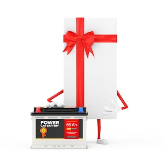 Caixa de presente branca e mascote do personagem de fita vermelha e acumulador de bateria 12v recarregável de carro com etiqueta abstrata em um fundo branco. renderização 3d