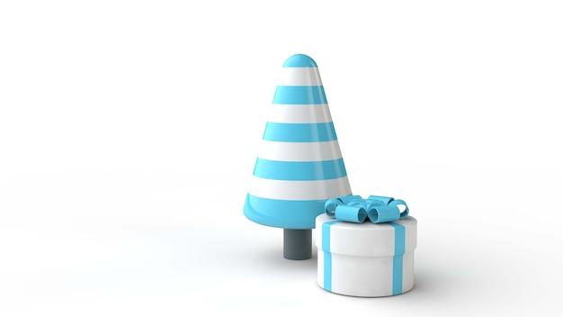 Caixa de presente com árvore de natal 3d