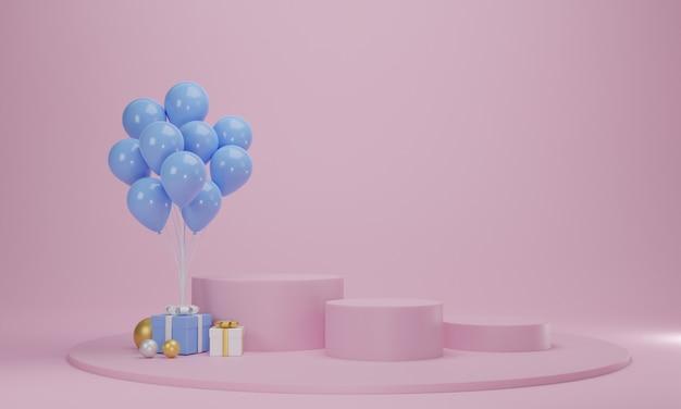 Caixa de presente com balão e pódio do círculo em fundo rosa pastel. cena de plataforma de celebração abstrata. renderização 3d